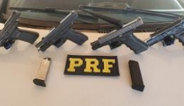 Casal é preso pela PRF transportando pistolas 9 milímetros na BR-463