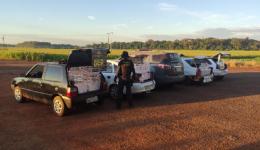 Quatro veículos carregados com cigarros contrabandeados foram apreendidos pelo DOF