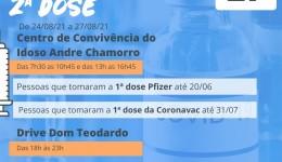 Nesta sexta-feira terá aplicação da segunda dose da AstraZeneca